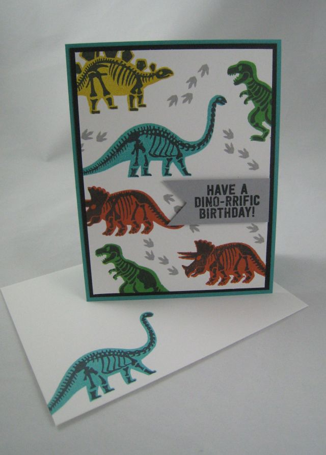 dino birthday card and env